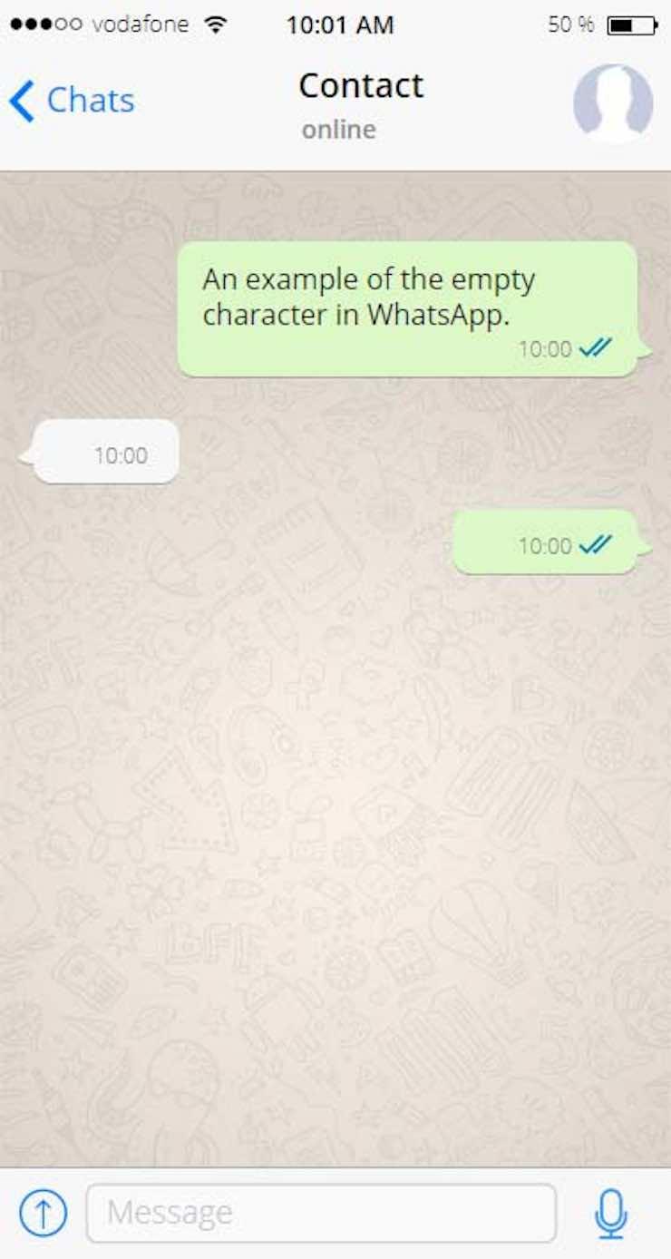 Caratteri invisibili whatsapp
